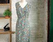 SALE - Celine Silk Liberty Print Dress - sheath dress - silk dress - botanical print dress - v-neck dress - semi formal cocktail dress