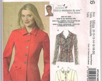 Jacket Pattern, McCalls 5526, Semi Fitted Jacket, Two Piece Sleeves, Princess Seams, In Two Lengths, Nancy Zieman 8 10 12 14 16 18 20