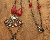 Handmade Ruby Red Teardrop Bead Necklace Gunmetal Chain Wire Wrapped Swarovski Siam Red Rhinestone Skeleton Key Fan Neo Victorian