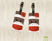 Personalized Luggage Tags Sock Monkey Vintage Toy Luggage Tags - Full Metal Tags - Printed Address, text or quote