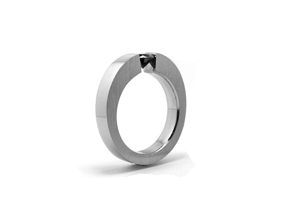 Black yx Mens Tension Set Ring in Stainless Steel
