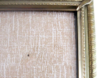 Vintage Metal Picture Frame Gold Metal Decorative Rope Diamond Scrolling and Braid  8 x 10 1950s