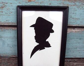 Vintage Silhouette Picture Child Boy Black and White Wood Frame Paper Ephemera Art Deco