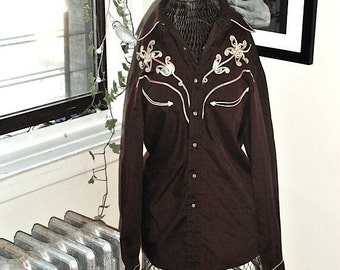 1970s Embroidered Western Brown Floral Snappy Shirt with Pearl Buttons S/M