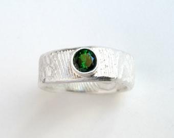 Emerald Color Garnet Sterling Silver Ring With Tsavorite Garnet Green Garnet Jewelry Ring For Men Garnet Jewelry