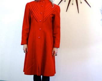 SALE- Vintage 60s Coat Bright Red Long Wool Womens Coat Pleating Short Collar Puff Sleeve Fitted Cut 1960s MAD MEN Long Winter Ladies Jacket