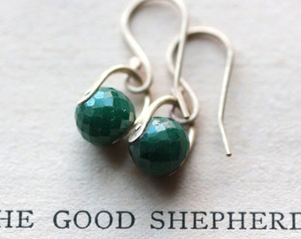 May Birthstone Earrings Emerald Earrings Gold Earrings Brass Earrings Drop Earrings Dangle Earrings Small Gemstone Earrings - Lallybroch