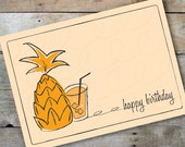 Happy Birthday Retro Pineapple Cocktail Card