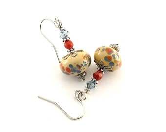 CLEARANCE....Dotted Lampwork Earrings - Blue Red and Cream Earrings - Lampwork Earrings - Small Earrings -Czech Glass -Silver Earrings- E003