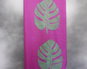 Shawl, Purple with Green Monsterra Print