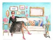 Wedding Portrait, Fashion Sketch Lifestyle Interior Design,Black Dress, Audrey Architecture Painting Artwork