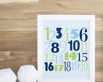 Numbers Print, Kids Numbers Print, Baby Decor, Navy Blue, Numbers Wall Art. Count to 20 Print - Navy Blue/Green - Kids Wall Art