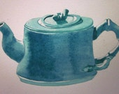 Teal blue Asian influenced teapot -- original watercolour painting