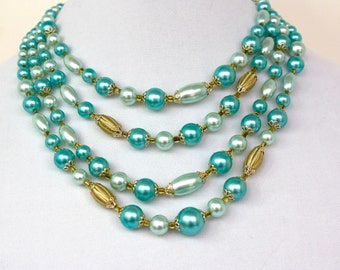 Vintage 50s Bead Necklace 4 strand Turquoise & Gold Glass Bead Choker Japan