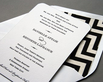Letterpress Wedding Invitation Set - Chevron Danielle