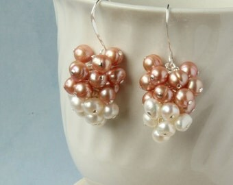 White and old pink freshwater pearls,  wire wrapped, sterling silver earrings. Cluster earrings.E0004SS