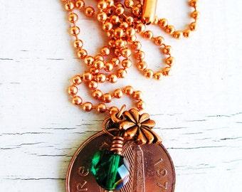 1971 Copper IRISH Coin CHARM Necklace-1971 IRISH 2 pence