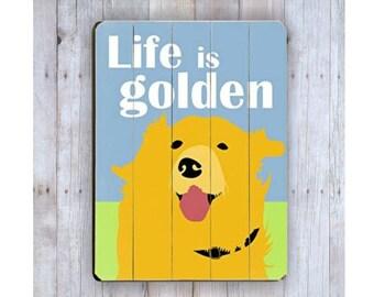 Golden Retriever Sign, Golden Retriever Art, Wooden Sign, Golden Retriever Dog, Dog Lover Gift, Wood Dog Sign, Wood Plank