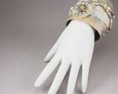Handmade Wide Wrap Cuff - Champagne Beige Fiber Bridal Bracelet No. 145