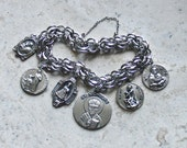 Children of God ~ Vintage Sterling Silver Catholic Medals Bracelet ~ Saints of Children