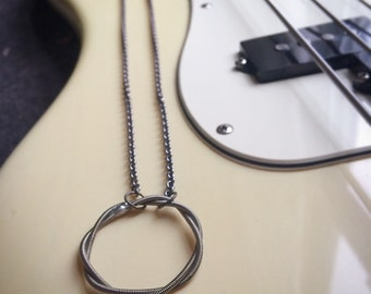 Recycled Bass Guitar String Necklace Unique and One of a Kind Handmade Gift    All About That Bass