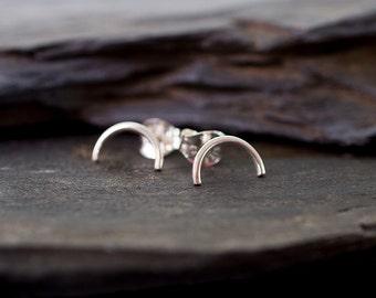 Sunrise - Sterling Silver Stud Earrings Modern Everyday Minimalist Posts by Prairieoats