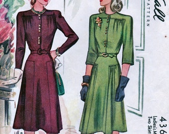 Vintage 1940's McCall Pattern 4361 *  STUNNING Misses' Dress with Two Skirt Fronts   * Size 12 Bust 30
