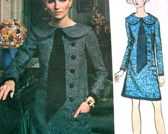 1970's VOGUE Paris Original  Pattern 2383 by Designer: Jean Patou * BEAUTIFUL Misses' A-Line Dress * Size 12, bust 34