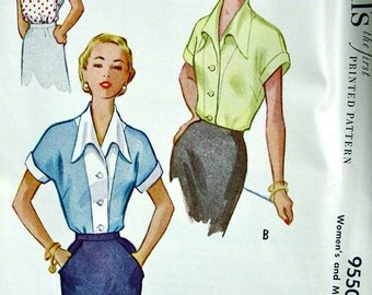 UNCUT * 1950s  McCalls  Pattern 9550   -  Misses'  Blouse with Unique Collar    //  Bust 34 * Size 16