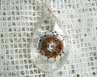 Glass Tear drop Winchester 20GA Bullet shell Necklace with Silver plated jewelry piece