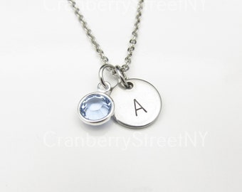 Initial Necklace with Blue Crystal Accent (Y025). Personalized Initial Charm Stainless Steel with Crystal. Custom Stamped Monogram Necklace.
