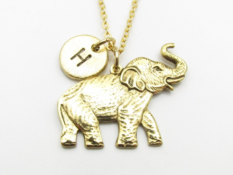 elephant necklace gold elephant charm initial necklace