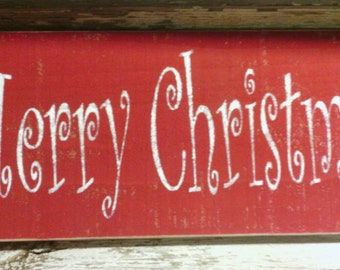 Merry Christmas Red Wood Primitive Sign Christmas Holiday Wall Hanging Decoration