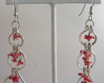 Oo-La-La:  Red Coral and Hand Forged Fine Silver Earrings