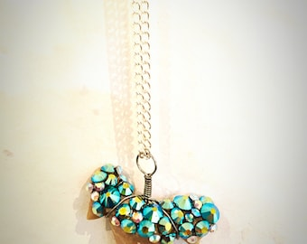 Shark Tooth Necklace, Bedazzled with with  Aqua Swarovski Crystals