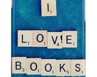 iPhone 6s Case I Love Books Vintage Scrabble Tiles Book Lover Nerd Geek Librarian Samsung Galaxy Case 6s Plus