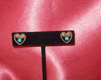 Vintage Copper Turquoise Twisted Heart Earrings