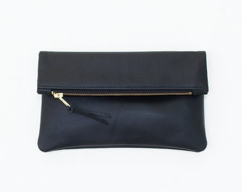 Black Leather Fold Over Clutch, Leather Zipper Pouch, Minimal Everyday Clutch, Evening Clutch, Basic Fold Over Bag, Black Leather Wristlet