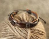 Unisex Leather Bracelet, Women Bracelet, Vintage Bracelet, Brown Leather Bracelet, Genuine Leather Bracelet, Jewelry, Adjustable Bracelet