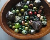 wood beads   mix 100 pcs - Destash 60 to 80 percent off - light irregularity  flawed seconds