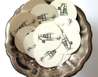 Vintage Biplane Airplane Tags Round Paper Gift Tags Set of 10