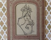 OOAK Drawing * Girl with Mushrooms* Antique Paper Frame * Tracy Lewis ~ Pop Surrealism