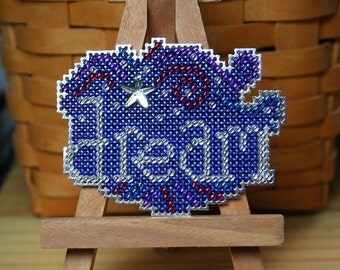 Dream Cross Stitched and Beaded Magnet, Pin, or Ornament  - Free U.S. Shipping