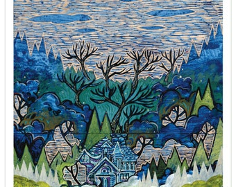 The Getaway, Tree House Series Art Print 11x14 -Home Tree Home- by Buzz Parker