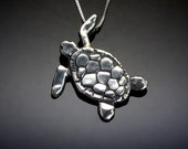 Sea Turtle Necklace // Sterling Silver Turtle Jewelry // Turtle Pendant Charm