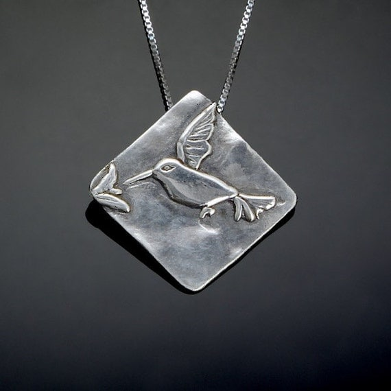 Silver Hummingbird Necklace // Little Bird Jewelry // Sterling Silver Hummingbird Charm