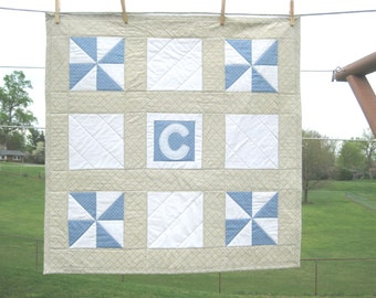 Monogrammed Custom Baby Quilt made with Your Color Choice with Pinwheels and Letter Patchwork Baby Quilt Blanket for Newborn MADE TO ORDER