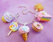 Polymer Clay Pastel Sweets Dessert Charm Bracelet Candy Cake Ice Cream Cookies Food Jewelry