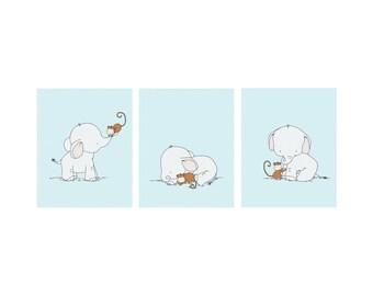 Elephant Nursery Art -- Elephant and Monkey Nursery Art -- Set of 3 Prints -- Kids Wall Art