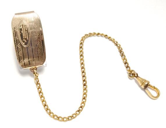 1920s Art Deco Rose Gold Monogrammed B Watch Chain